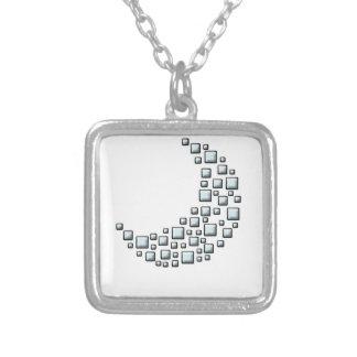 Blocky Moon Square Pendant Necklace