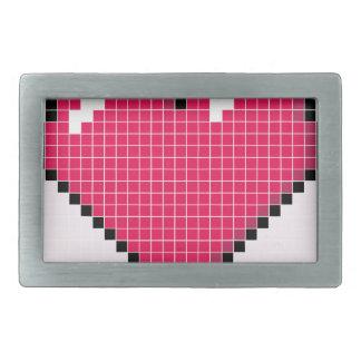 Blocky Pink Heart Rectangular Belt Buckle