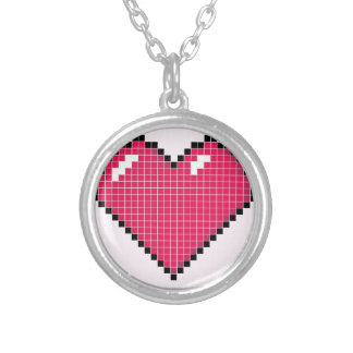 Blocky Pink Heart Round Pendant Necklace