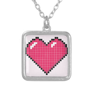 Blocky Pink Heart Square Pendant Necklace