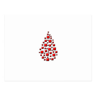 Blocky Red Drop Postcard