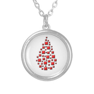 Blocky Red Drop Round Pendant Necklace