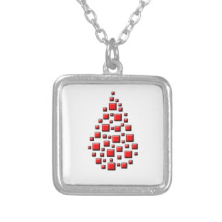 Blocky Red Drop Square Pendant Necklace