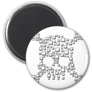 Blocky Skull 2 Inch Round Magnet