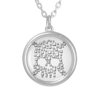 Blocky Skull Round Pendant Necklace