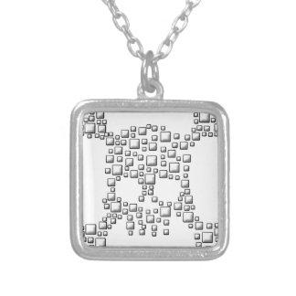Blocky Skull Square Pendant Necklace