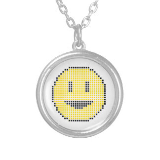 Blocky Smiley Face Round Pendant Necklace