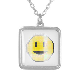 Blocky Smiley Face Square Pendant Necklace