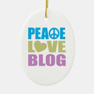 Blog del amor de la paz adorno ovalado de cerámica