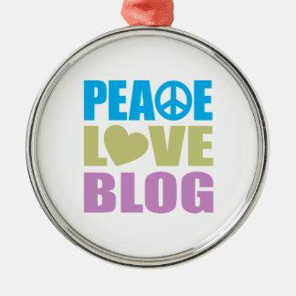Blog del amor de la paz adorno redondo plateado