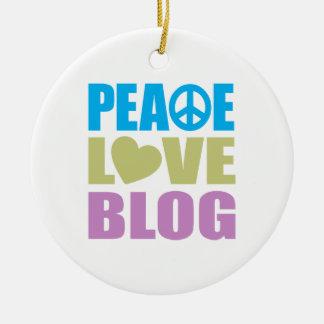 Blog del amor de la paz adorno redondo de cerámica