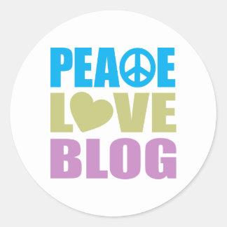 Blog del amor de la paz pegatina redonda