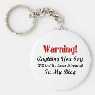 Blog Warning Basic Round Button Keychain