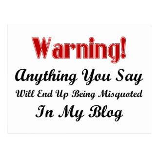Blog Warning Postcard