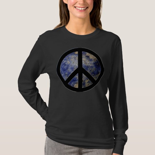 BlogBlast For Peace Ladies Black T-Shirt with Peac | Zazzle