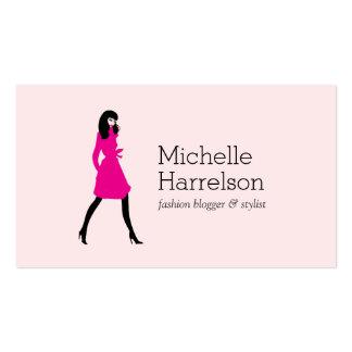 Blogger atractivo del estilo del chica de la moda, tarjetas de visita