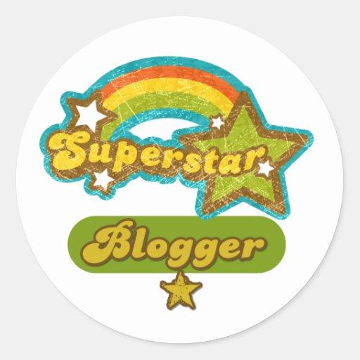 Blogger de la superestrella pegatina redonda