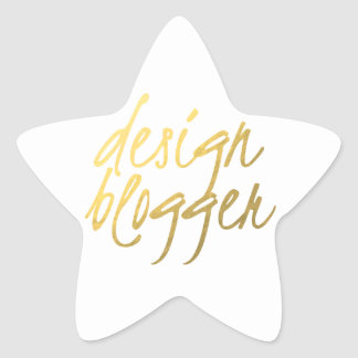 Blogger del diseño - escritura del oro calcomania forma de estrella personalizada