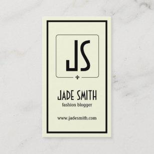 Off white business cards templates zazzle bloggers minimalistic black cream off white business card colourmoves
