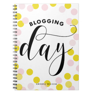 Blogging Day Pink & Yellow Confetti Personalized Notebook
