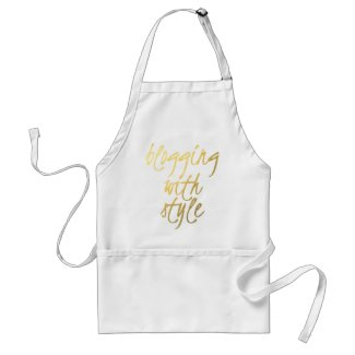 Blogging with Style - Gold Script Adult Apron