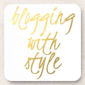Blogging with Style - Gold Script Coaster