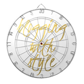Blogging with Style - Gold Script Dartboard With Darts