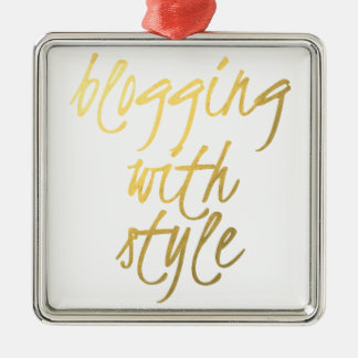 Blogging with Style - Gold Script Metal Ornament