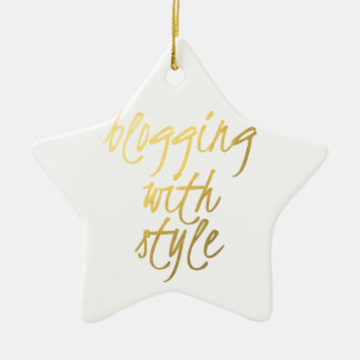 Blogging with Style - Gold Script Double-Sided Star Ceramic Christmas Ornament
