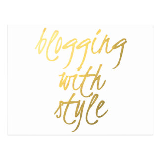 Blogging with Style - Gold Script Postcard
