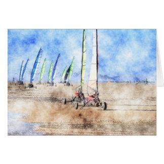 Blokart Racers on the Beach Greeting Card