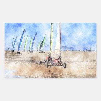 Blokart Racers on the Beach Rectangle Sticker