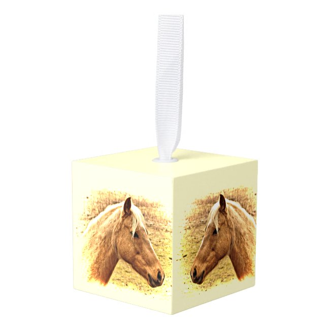 Blond and Brown Horse in Sun Cube Ornament