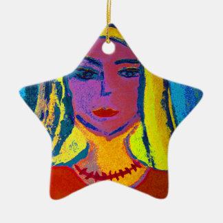 blond angel woman Stern-Ornament Ceramic Ornament