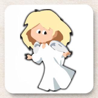 Blond Baby Angel Christmas Cartoon Beverage Coaster