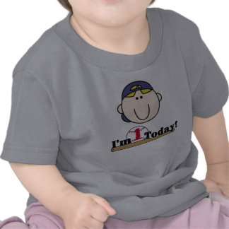 Blond Baseball First Birthday Tee Shirt