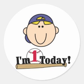 Blond Boy Baseball 1st Birthday Tshirts Classic Round Sticker