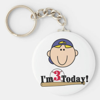 Blond Boy Baseball 3rd Birthday Keychain