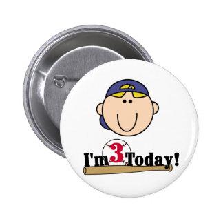Blond Boy Baseball 3rd Birthday Pinback Button
