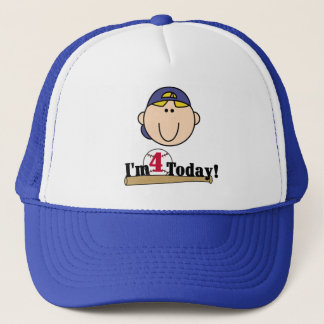 Blond  Boy Baseball 4th Birthday Trucker Hat