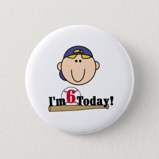 Blond Boy Baseball 6th  Birthday Button