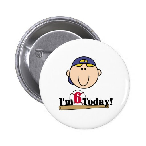 Blond Boy Baseball 6th  Birthday Buttons