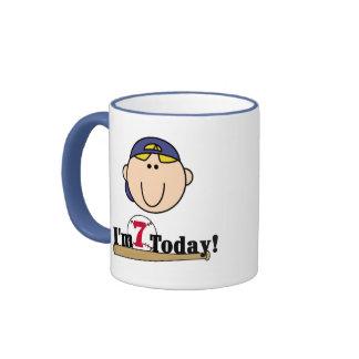 Blond Boy Baseball 7th Birthday Ringer Coffee Mug