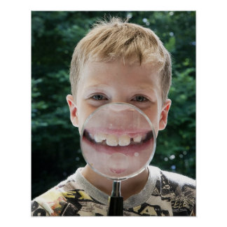 blond boy behind magnifying glass smiling poster