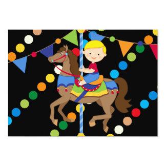 "Blond Boy Carousel Birthday 5x7 Invitation 5"" X 7"" Invitation Card"