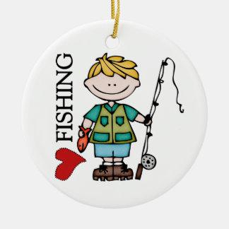 Blond Boy I Love Fishing Ceramic Ornament