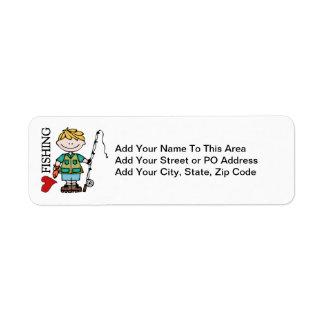 Blond Boy I Love Fishing Custom Return Address Labels