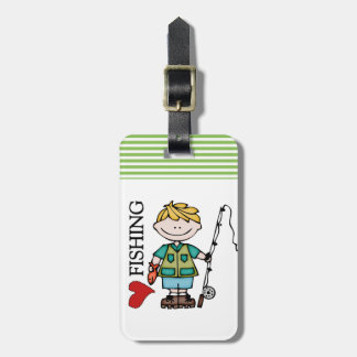 Blond Boy I Love Fishing Tag For Luggage