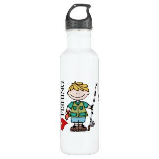 Blond Boy I Love Fishing 24oz Water Bottle