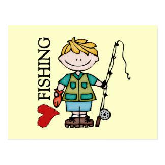 Blond Boy I Love Fishing Postcard